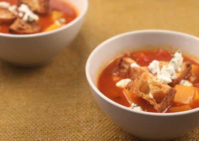 Butternut Squash Tomato Soup with Croutons & Goat Cheese