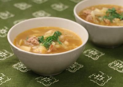 Celeriac Cabbage Soup with Chickpeas & Sausage