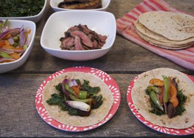 Easy Fajitas with Cumin Scented Kale