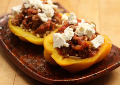 Orzo Stuffed Peppers with Local Lamb