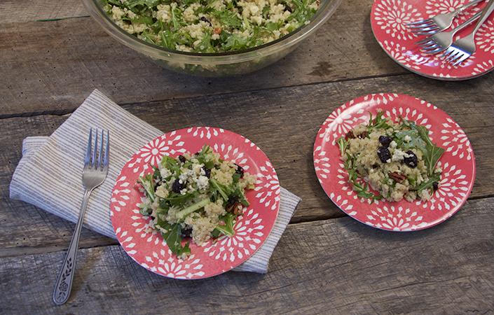 Mizuna Quinoa Salad with Lemon Scallion Vinaigrette