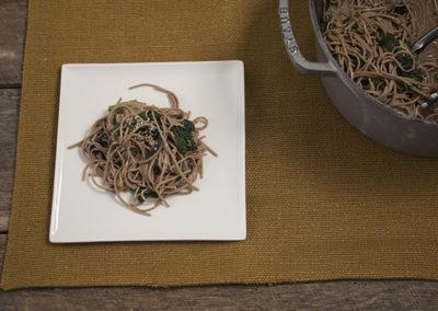 Mustard Greens & Soba Noodles in Miso Dressing