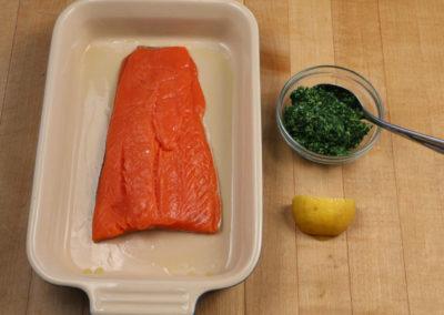 Salmon with Kale Pesto