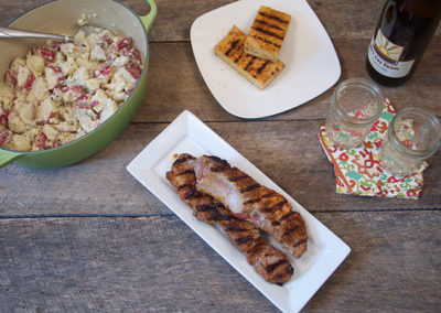 Blue Cheese Potato Salad with Sweet & Spicy Country Ribs or Tempeh