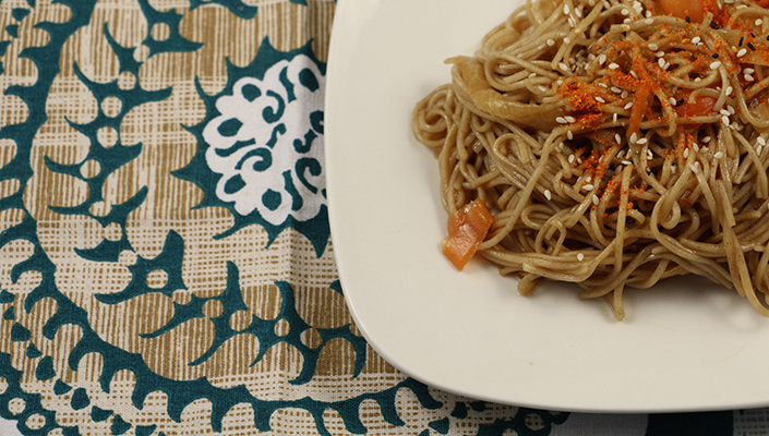 Quick Spicy Soba Noodles and Root Vegetables