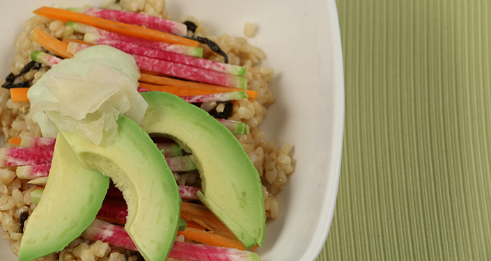 Sushi Salad with Carrots and Watermelon Radishes